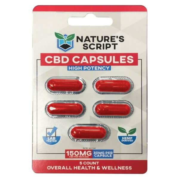 5 Count High Potency CBD Capsules Front