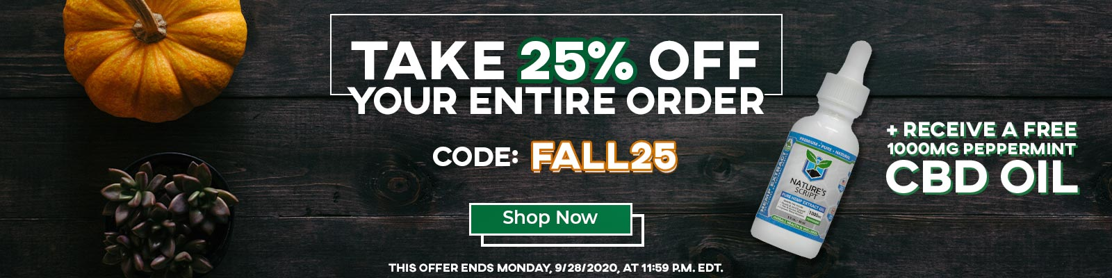 Nature's Script Fall Sale - 25% Off CBD Products