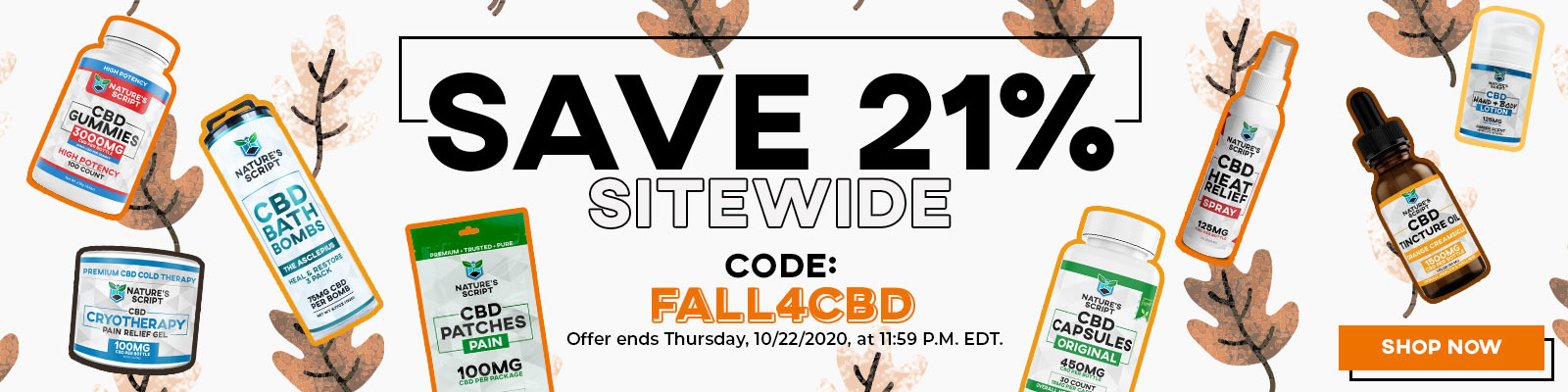Nature's Script Fall Sale Save 21% Sitewide Banner